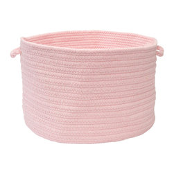 """Colonial Mills - Bristol Storage Basket - Blush Pink, 14"""" x 10"""" - Made of wool blend yarns, this casually chic woven natural storage basket is built for stashing magazines, throws, toys and craft supplies. Made in the USA."""