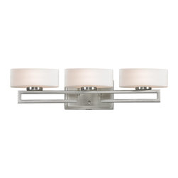 Z-Lite - Z-Lite Cetynia Bathroom Light X-V3-0103 - This triple vanity light sits on a cut-away rail finished in brushed nickel, with curved matte opal glass for a dazzling modern design.