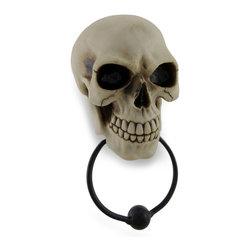 Zeckos - Gothic Skull Face Sculptural Door Knocker - With a sepulchral knock worthy of any Gothic lair, this truly magnificent skull will greet your guests with an eerie welcome when you hang this door knocker at your entryway Expertly cast in resin with a metal knocker, and finished in a realistic aged bone finish, this 9 inch (23 cm) high, 4.25 inch (11 cm) wide, 3 inch (8 cm) deep sculpture easily hangs using the included hardware, and serves as an impressive towel rack in the guest bathroom, or a curtain tie-back in your deathly den, too It makes an amazing gift any fan of macabre decor is sure to admire