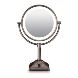 Conair - Conair Variable Lighted 10X/1X Mirror in Oil Rubbed Bronze - This double-sided freestanding mirror features home, office and day settings, plus fog free viewing. Mirror rotates 360 degrees.