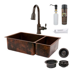 "Premier Copper Products - 33"" Copper Kitchen 75/25 Sink w/ ORB Faucet - PACKAGE INCLUDES:"
