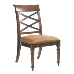 Lexington - Tommy Bahama Home Landara Cedar Point Side Chair - A striking lattice design set upon the gracefully curving back brings an element of casual elegance to formal dining. Featured in a woven pattern with highlights of sunset gold and cilantro green set on a chestnut background, the nail head trimmed upholstered seat offers inviting comfort and sophisticated style. Matching arm chair is available for host and hostess seating. Shown in standard fabric, Seabrook, with custom fabric options available. See store for details.
