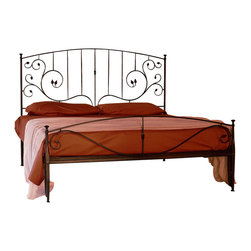 "Caporali - Fronda Bed by Caporali - Tuscany, Italy, Full Size - 54"" X 75"" - Hand forged in the Caporali workshop (Santa Mama, Tuscany, Italy), the Fronda Bed is a traditional Tuscan design celebrating the Palm Frond - the leaf-like part of the palm plant. What makes the Fronda bed a favorite is the integration of vertical pieces in the head board that disappear into the palm frond design. Similar to the Classico headboard design (also available on Houzz), the Fronda headboard creates a weightless feeling with its graceful flow of scrolling iron attaching to the vertical and two horizontal pieces with mortise and tenon construction. The foot board reminds us of the Frond design and compliments the headboard while keeping the overall design light and free. The foot board of course also includes Caporali's renowned ""loop"" design smartly allowing for the top blanket or comforter to fall naturally between the mattress and the foot board."