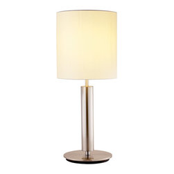 "Adesso - Adesso 4173-22 Hollywood Table Lamp - Hollywood Table Lamp  Satin Steel and Silk, the Hollywood Table Lamp has it all! The Hollywood Lamp has a chunky satin steel pole with an 8"" flat round base and a 12"" tall ivory silk shade with a 9.75"" diameter. This table lamp features a rotor.  About Adesso  Adesso was established in 1994, with the vision and belief that consumers who sought high-end contemporary home products at affordable prices would be able to do so. �Adesso has been able to redefine residential spaces with its innovative, well-designed and well priced products. They have integrated an array of colors and materials in the design of their products to include renewable bamboo, cork, glass, resin, woven fabric, rice-paper and even metals.� Adesso is shaping the future of home design and they�re driven by the simple idea that your home is a canvas."