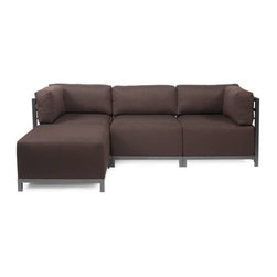 Howard Elliott Sterling Chocolate Axis 4-Piece Sectional - Titanium Frame - A Fashionable Trio! Lounge in style on a Sterling Axis 4-piece Sectional will intoxicate your room with its uplifting style. Float the Sterling Axis 4-piece Sectional in your room for an intimate seating arrangement. Expand your sectional with additional chair, corner or ottoman pieces. The steel frame is available in 2 finishes allowing you to choose a frame to best compliment your color. This piece features boxed cushions with Velcro attachments to keep the cushions from slipping and looking their best all of the time. Your Sterling Axis 4-piece Sectional will definitely turn heads with its sophisticated linen-like texture and vibrant color selection.