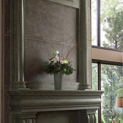"Azzuro stone fireplace overmantel - ""omega cast stone fireplace mantle"""