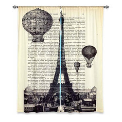 "DiaNoche Designs - Madame Memento Unlined Window Curtains, Eiffel Tower, Set of 2 - DiaNoche Designs works with artists from around the world to print their stunning works to many unique home decor items.  Purchasing window curtains just got easier and better! Create a designer look to any of your living spaces with our decorative and unique ""Unlined Window Curtains."" Perfect for the living room, dining room or bedroom, these artistic curtains are an easy and inexpensive way to add color and style when decorating your home.  The art is printed to a polyester fabric that softly filters outside light and creates a privacy barrier.  Watch the art brighten in the sunlight!  Each package includes two easy-to-hang, 3 inch diameter pole-pocket curtain panels.  The width listed is the total measurement of the two panels.  Curtain rod sold separately. Easy care, machine wash cold, tumble dry low, iron low if needed.  Printed in the USA."