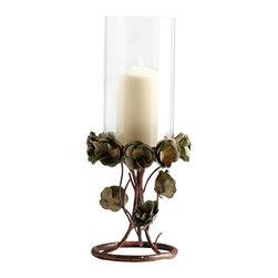 Cyan Design - Leigh Green Rose Candleholder - Large - Large leigh green rose candleholder - bronze patina