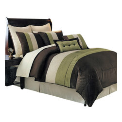 Bed Linens - Sage Hudson Luxury 12-Piece Bedding Set Queen Size - The Sage & Chocolate Hudson 12-piece comforter set offers a modern, tailored look that creates an aura of calmness in any bedroom.