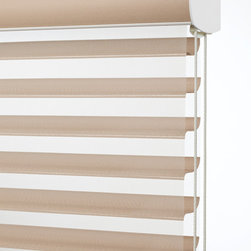 Sheer blinds control light & add privacy - Shangri-La Blind with ultrasleek headrail. Shangri-La horizontals allow you to control light by tilting the fabric vanes, providing privacy and light control.  The shades can be stacked at the top and offer an uncluttered window. Compare to Silhouette shades for the same look with a lower price tag. Photo by Comfortex