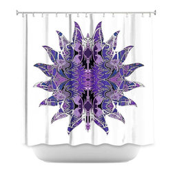 DiaNoche Designs - Shower Curtain Artistic - Purpleliscious Sun - DiaNoche Designs works with artists from around the world to bring unique, artistic products to decorate all aspects of your home.  Our designer Shower Curtains will be the talk of every guest to visit your bathroom!  Our Shower Curtains have Sewn reinforced holes for curtain rings, Shower Curtain Rings Not Included.  Dye Sublimation printing adheres the ink to the material for long life and durability. Machine Wash upon arrival for maximum softness. Made in USA.  Shower Curtain Rings Not Included.