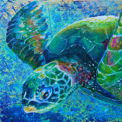 Follow Your Path (Original) by Leanne Blackwell - Serene sea turtle. The base of this mixed media piece is torn paper and layered shapes and textures. Sea turtles represent a more grounded and calm path through life as well as the Earth itself. The colors are soothing yet busy. There is an urgency here with the current state of endangerment to soothing and calm states mirrored in our own lives.