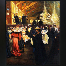 """overstockArt.com - Maurer - Le Bal au Moulin-Rouge Oil Painting - 20"""" x 24"""" Oil Painting On Canvas Painted in 1901, Maurer was a master at depicting action in motion by his highly developed sense of light and dark. In this early work, Le Bal au Moulin-Rouge the artist captures the energy and excitement of the moment and translates this expertly to canvas. Let the carefully crafted luminous light brighten your living room and become a conversation piece for years to come. Alfred Henry Maurer (1868 - 1932) was an American painter. He exhibited his work in Avant-garde circles internationally and in New York City during the early twentieth century. Highly respected today, his work met with little critical or commercial success in his lifetime. Having the distinction of being America's first modernist, Maurer experimented with many styles until settling into contemporary expression believing the overall perception of work was more important than the finer details. Above all, Maurer declared color arrangement to be the most important element in composition. He also believed art could not completely imitate nature, but nature could be intensified in art lending to his love and use of vivid color. Although much of Maurer's works are privately held, many are included in the collection of the Carnegie Museum of Art, the Chicago Art Institute, the Whitney Museum of American Art, and countless other across the nation."""