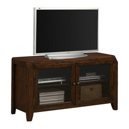 Monarch Specialties - Monarch Specialties I 1943 Brown Oak Veneer 48 Inch TV Console - The transitional style solid wood and veneer TV console has a distressed brown oak finish, with a spacious top surface for your television. Two glass doors in the center enclose two generously sized shelves that are ideal for electronic components, allowing you to use your remote through the glass. This piece can fit into any home with its modest detailing, tapered legs, and simple silver knobs. TV Console (1)