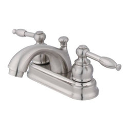 """Kingston Brass - Satin Nickel Two Handle 4"""" Centerset Lavatory Faucet with Retail Pop-up KB2608KL - Two Handle Deck Mount, 3 Hole Sink Application, 4"""" Centerset, 3 hole 4"""" center spread installation, Fabricated from solid brass material for durability and reliability, Premium color finish resist tarnishing and corrosion, 1/4 turn On/Off water control mechanism, 1/2"""" - 14 NPS male threaded shank inlets, Duraseal washerless cartridge, 2.2 GPM (8.3 LPM) Max at 60 PSI, Integrated removable aerator, 4"""" spout reach from faucet body, 3-1/2"""" overall height.. Manufacturer: Kingston Brass. Model: KB2608KL. UPC: 663370004056. Product Name: Two Handle 4"""" Centerset Lavatory Faucet with Retail Pop-up. Collection / Series: KNIGHT. Finish: Satin Nickel. Theme: Contemporary / Modern. Material: Brass. Type: Faucet. Features: Drip-free washerless cartridge system"""