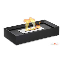 Moda Flame - Moda Flame Serpa Table Top Ethanol Fireplace - Serpa modern ethanol fireplace is an easily movable fireplace, due to its light weight and compact design. The powder coated steel rectangular shape is con-caved inwards to make room for decorative rocks, stones, marbles or shells.