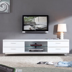 "B-Modern - Promoter 79"" High-Gloss White TV Stand - BM-120-WHT - Contemporary design"