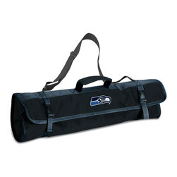 """Picnic Time - Seattle Seahawks 3-pc BBQ Tote in Black - The Metro BBQ Tote stands out among other portable barbecue tool sets. It's a 3-piece BBQ tool set with silicone handles in an attractive black polyester zip-up case with an adjustable shoulder strap to match the handles of the tools inside. It includes three stainless steel tools: 1 large spatula featuring a built-in bottle opener, grill scraper, and serrated edge for cutting (17.5"""") , 1 BBQ fork (17""""), and 1 pair of tongs (16.5""""). All three tools have long handles to keep your hands away from the flames and metal loops at their ends to hang them on your barbecue. Why not add a little color to your day with the Metro BBQ Tote?; Decoration: Digital Print; Includes: 1 (25"""") spatula with built-in bottle opener, 1 (18.75"""") pair of tongs, and 1 (19"""") fork"""