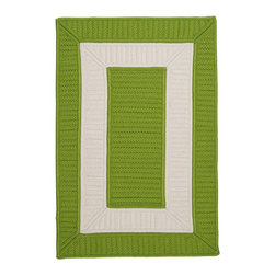 Colonial Mills, Inc. - Indoor/Outdoor Rope Walk, Bright Green Rug, Sample Swatch - Woven in worry-free polypropylene, this braided rug is fade and stain resistant and reversible for long-lasting comfort, color and beauty. Durable enough for use in high-traffic areas all around the house.