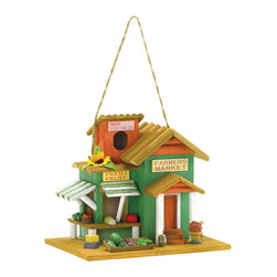 "KOOLEKOO - Farmer's Market Birdhouse - Here's a happy little hut that's just bursting with country charm! A rainbow array of fresh-picked goodies tempts flocks of flyers to ""pull up a perch"" and enjoy a well-deserved rest."