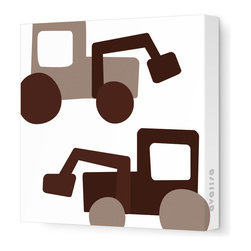 """Avalisa - Things That Go - Tractors Stretched Wall Art, 18"""" x 18"""", Brown - Want to cultivate a space that's fun for your little farmer? These tractors come in a field of bright colors you will dig, in a variety of sizes. Scoop this one up to plant some color and whimsy in your life."""