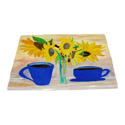 xmarc - Garden Area Plush Area Rugs From Original Art, Coffee And Sunflowers, 48 X 30 - Coffee and sunflowers garden area plush area rugs from original art. Tree frogs, dragonflies, flowers, lady bug, butterflies.