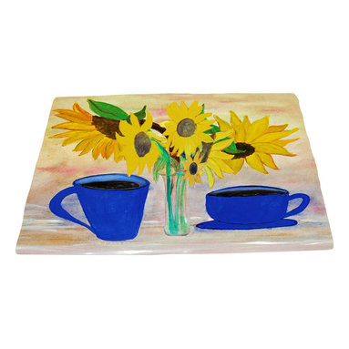 xmarc - Garden Area Plush Area Rugs From Original Art, Coffee And Sunflowers, 96 X 48 - Coffee and sunflowers garden area plush area rugs from original art. Tree frogs, dragonflies, flowers, lady bug, butterflies.