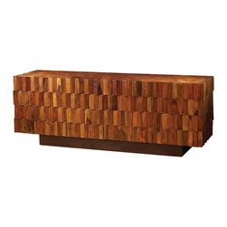 Global Views - Washboard Media Cabinet - The Washboard Media Cabinet has magnetic door closures, two removable shelves behind each door and slat back design allowing for easy access to component wiring.  Made of solid teak and sheesham wood with hand fitted marquetry.