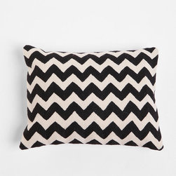 Crewel Embroidered Zigzag Pillow -