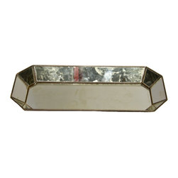 "Worlds Away - Worlds Away Tray Octagonal Mirror - This Worlds Away tray radiates modern allure on contemporary tabletops. The traditional bar accessory serves sleek style with an octagonal metal frame and antique mirror accents. 1.5""W x 6""D x 1.5""H"