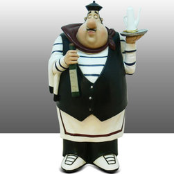 Fat Chef Kitchen Statue Figure Table Art Decor - Beautiful Kitchen Counter Table Top Art Decoration for the Italian Bistro Cook or Restaurant.