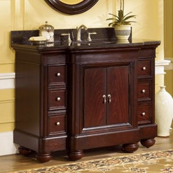 Kaco Mount Vernon 48-in. Single Bathroom Vanity in Merlot with Optional Countert - Transform your bathroom decor with the Kaco Mount Vernon 48-in. Single Bathroom Vanity in Merlot with Optional Countertop. Its antique appeal is highlighted by its rounded bun feet, paneled door and brushed nickel hardware. A solid hardwood construction, with a water-resistant finish, makes this unit tough and durable. The spacious compartment, hidden behind two doors, has an adjustable shelf and removable hardwood drawer. Additionally, six drawers provide extra storage space. Leveling feature on its legs allows you to steady this vanity on uneven floors.Kaco International's partnering with Sherwin-Williams and its high-end furniture finishing capabilities is undoubtedly a winning combination.About Kaco International Inc. Manufacturing and importing high-quality kitchen islands and bathroom vanities, Kaco international Inc. provides premium top quality products. Hailing from North Carolina with over 30 years of service experience, they bring an unmatchable presence to the industry and strive to keep their customers completely satisfied by providing top-notch service and product quality.