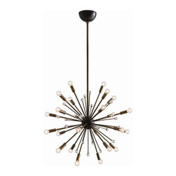 """Arteriors - Imogene Small Chandelier, Vintage Brass - Inspired by a trip to Paris, this 24 light modern starburst design in vintage brass or polished nickel is the perfect choice if you want drama, lots of light and a mid-century look. Shown with small clear globe bulbs.  This product is appropriate for an interior or exterior location that is subject to condensation or moisture such as a bathroom, indoor pool, or covered patio.  Adjustable height 37 - 49"""" h  Socket Wattage: 25w  Bulb: B10 Incandescent  Bulbs not included."""