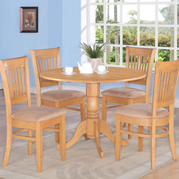 "East West Furniture - Dublin 5Pc Set with Dining Table and 4 Vancouver Microfiber Chairs in Oak - Dublin 5Pc Set - Round Table with Two 9"" Drop Leaves and 4 Vancouver Vertical Slat Back Microfiber Seat Chairs in Oak; The Dublin kitchen sets are of modest size, which is perfect for smaller dining spaces.; Made from Asian solid wood, it is finished with a light-gloss oak finish.; The table & chairs match beautifully in any traditional kitchen or dining room.; Supported by a single pedestal, this round table also features two drop leaves.; Its size makes the perfect dinette set for first-time buyers or smaller families.; The slat-back chairs are inviting with comfortable wood or soft-cushioned seats.; Weight: 116 lbs; Dimensions: Table: 42""L x 42""W x 29""H; Chair: 17""L x 17""W x 37""H"