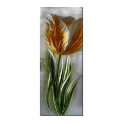 Pure Art - Harbinger of Spring Flower Art - The iconic symbol of spring, this tulip is boldly presented in this metal wall art. This parrot style tulip is highly detailed showing the ribbing and edging for the flower petals, the sturdy stem and fingerlike green foliage. The simple backdrop resembles a puffy, cloud filled sky in spring and offers a perfect foil for the boldness of yellow.Made with top grade aluminum material and handcrafted with the use of special colors, it is a very appealing piece that sticks out with its genuine glow. Easy to hang and clean.