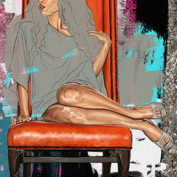 """Maxwell Dickson - Maxwell Dickson """"On Her Throne"""" Graffiti Fashion Pop Art Canvas Print Artwork - We use museum grade archival canvas and ink that is resistant to fading and scratches. All artwork is designed and manufactured at our studio in Downtown, Los Angeles and comes stretched on 1.5 inch stretcher bars. Archival quality canvas print will last over 150 years without fading. Canvas reproduction comes in different sizes. Gallery-wrapped style: the entire print is wrapped around 1.5 inch thick wooden frame. We use the highest quality pine wood available."""