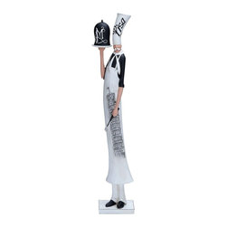 "Benzara - Chef Dressed in French Style Made with Resin Material - Augment its overall sophisticated interiors of your living room by placing this French chef. This French chef is a decorative accessory designed to reflect your cultured taste and indulgence in fine things. This pleasant in appearance chef is made out of resin material.. Flaunting fine detailing, the chef is positioned sideways and dons an authentic toque Blanche with a white scarf and apron. Glazed in black and white colors, the chef holds a plate with pot cover along with a spatula. He is fixed to a white plank equipped with suction cups for smooth placement. The delectable attitude on his face with his mustache makes him add charm and cheer to your setting. It is highly durable and ensures a long lasting performance by blending with both conventional and modern settings..; Ensures long lasting performance; Blends in with any kind of setting; Made out of resin; Dressed like a French chef; Slim in shape; Weight: 2.43 lbs; Dimensions:4""W x 3.5""D x 24""H"