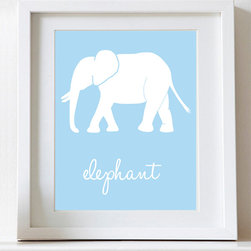 Nursery art Jungle theme - Elephant nursery art print, jungle nursery decor. Choose your colors!