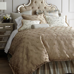 "Jane Wilner Designs - Jane Wilner Designs Queen Duvet Cover with Bows, 86"" x 86"" - Willoughby bedding uses its feminine charm to give your master or guest room an enchanting transformation. Made in the USA of imported fabrics by Jane Wilner Designs. Dry clean. Taupe linens with bows and taupe and blue plaid accessories are silk. ...."