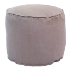 "Chooty - Chooty Circa Solid Smokey Amethyst Collection 20"" Round x 17"" High Corded Beads - Insert EPS Styrofoam Beads, Fabric Content 55 Linen 45 Rayon, Color Lavendar, Ottoman 1"
