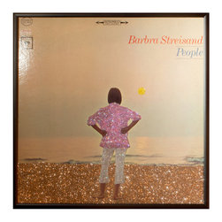 """Glittered Barbra Streisand People Album - Glittered record album. Album is framed in a black 12x12"""" square frame with front and back cover and clips holding the record in place on the back. Album covers are original vintage covers."""