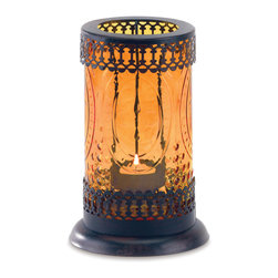 """Koehler Home Decor - Koehler Home Decor Colored Glass Lantern - Colored amber glass lantern features intricate lacework and embossed amber glass. Metal with glass globe. 4.25"""" diameter x 1"""" length x 7.75"""" high. Uses one tealight (not included).Material: Metal with glass globe. 4.25"""" diameter x 1"""" length x 7.75"""" high."""
