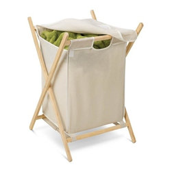 Folding Wooden Hamper - Honey-Can-Do HMP-01365 Folding Laundry Hamper With Removable Bag, Natural. Doing the laundry becomes less of a chore with this naturally simple, yet useful tool for organizing and transporting your laundry. An integrated fold-over cover keeps contents concealed and any laundry area neat and clean.  The removable cloth hamper easily detaches from the wood frame for a portable laundry bag in an instant. When not in use, this hamper folds to flat so it can be quickly and easily moved or stowed away.  Make laundry day easier with this 2-in-1 hamper/laundry bag.
