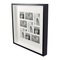 Boom - Two-Tone Frame Collage, Large - Not all mementos fit into a standard four-by-six-inch frame. You can get creative with cropping or finally find a home for smaller stray pictures with this simple frame with a collage-like mat opening.