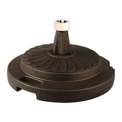 "Patio Living Concepts - Patio Living Concepts Umbrella Base Stands Commercial Umbrella Stand in Bronze - Commercial Umbrella Stand in Bronze belongs to Umbrella Base Stands Collection by Patio Living Concepts Commercial quality umbrella stand offers up to 95 lbs. of heavy holding force when filled with sand. Will accommodate umbrella poles from 1-1/2"" to 2"" diameter. Features locking screw on cap and smooth glide roller for easy moving. Umbrella Stand (1)"