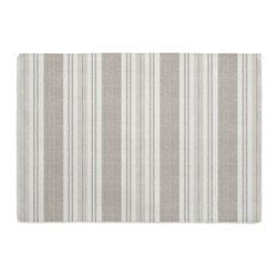 Gray & Ivory Handwoven Stripe Custom Placemat Set - Is your table looking sad and lonely? Give it a boost with at set of Simple Placemats. Customizable in hundreds of fabrics, you're sure to find the perfect set for daily dining or that fancy shindig. We love it in this handwoven cotton feedsack stripe in gray that will take your rustic space from shabby to chic.