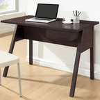 Baxton Studio - Contemporary Desk with Drawer - Top thickness: 1 in.. Wipe with a dry cloth. Made from faux wood grain paper veneer over engineered wood frame. Dark brown finish. Made in Malaysia. Assembly required. Drawer: 8.5 in. W x 11.12 in. D x 2.5 in. H. Overall: 42 in. W x 23.62 in. D x 29.62 in. H (53 lbs.)A simple silhouette of a writing desk, the Frommes Modern Desk will help get the job done. From paying bills to browsing the internet, this small home office desk keeps it simple. A small drawer on the desks right side is ideal for pens, notepads, and other small necessities.