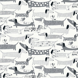Loboloup - Wiener Dogs Wallpaper, Gray, Roll - Who doesn't love a hotdog dog?