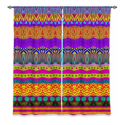 """DiaNoche Designs - Window Curtains Lined by Pom Graphic Design Earth Layers - Purchasing window curtains just got easier and better! Create a designer look to any of your living spaces with our decorative and unique """"Lined Window Curtains."""" Perfect for the living room, dining room or bedroom, these artistic curtains are an easy and inexpensive way to add color and style when decorating your home.  This is a woven poly material that filters outside light and creates a privacy barrier.  Each package includes two easy-to-hang, 3 inch diameter pole-pocket curtain panels.  The width listed is the total measurement of the two panels.  Curtain rod sold separately. Easy care, machine wash cold, tumble dry low, iron low if needed.  Printed in the USA."""