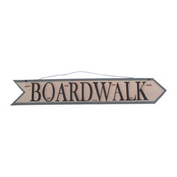 Handcrafted Nautical Decor - Wooden Boardwalk Arrow Sign 33'' - Our   Wooden Boardwalk Arrow Sign 33'' is the perfect choice to display  your  affinity for decorating a beach house. Place this sign in a beach   kitchen, use as a coastal decorating idea, or hang this up as part of   your beach bedroom decor. Given all the options, one thing is for   certain, you are sure to inject the beach lifestyle into your humble   abode.------    Easily mountable to hang outside or inside--    Made from high quality woods--    Sign says ''Boardwalk'and is in the shape of arrow--